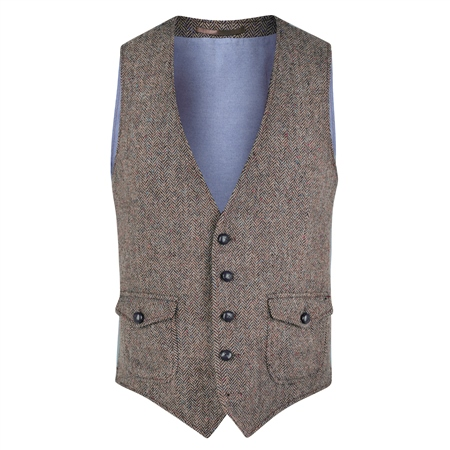Oat Easky Donegal Tweed Vintage Classic Fit Waistcoat  - Click to view a larger image