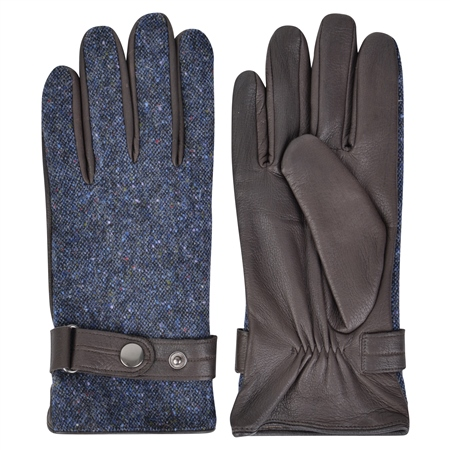 Navy Farnagh Donegal Tweed Gloves  - Click to view a larger image