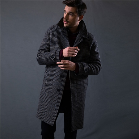 Dark Chocolate Brown Erne Oversized Glencheck Raglan Coat  - Click to view a larger image