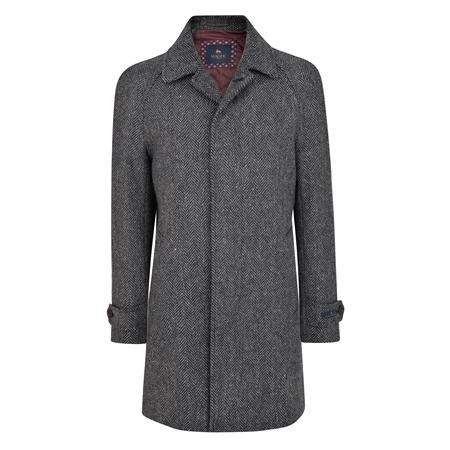 Black & Grey Erne Herringbone Raglan Coat  - Click to view a larger image
