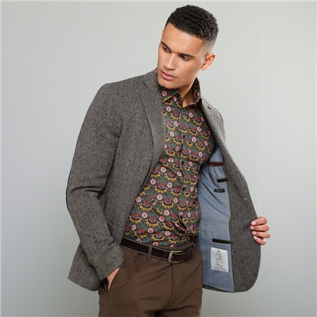 Oat Easky Herringbone Donegal Tweed Vintage Classic Fit Jacket  - Click to view a larger image