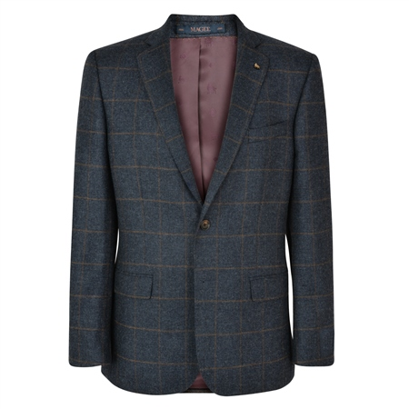 Grey Checked Donegal Tweed Classic Fit Jacket  - Click to view a larger image