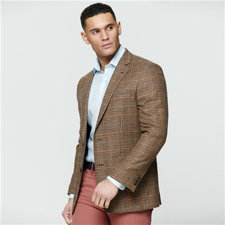 Multi-coloured Glen Check Donegal Tweed Classic Fit Jacket  - Click to view a larger image