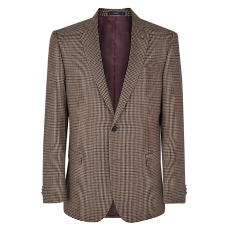 Houndstooth Checked Donegal Tweed Classic Fit Jacket  - Click to view a larger image