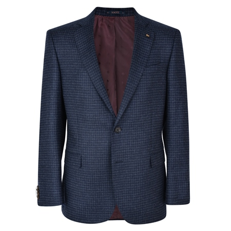 Navy Checked Donegal Tweed Classic Fit Jacket  - Click to view a larger image