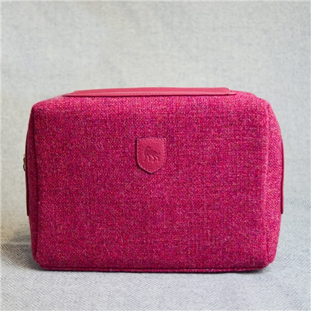 Pink Donegal Tweed Salt & Pepper Magee Makeup Bag  - Click to view a larger image
