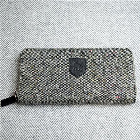 Grey Donegal Tweed Salt & Pepper Magee Wallet  - Click to view a larger image