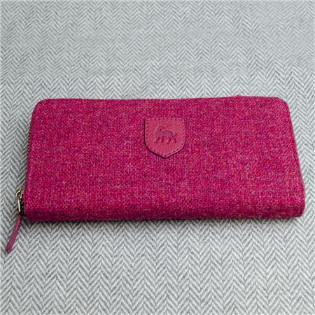 Pink Donegal Tweed Salt & Pepper Magee Wallet  - Click to view a larger image