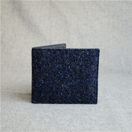Navy Donegal Tweed Salt & Pepper Magee Mens Wallet  - Click to view a larger image