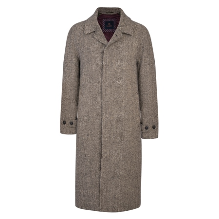 Black and Pale Camel Donegal Tweed Corrib Quilted Raglan Coat  - Click to view a larger image