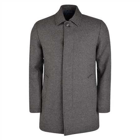 Grey Edergole Houndstooth Check Donegal Tweed Coat  - Click to view a larger image