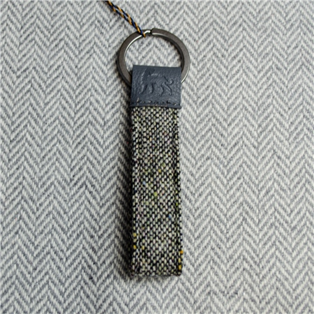 Grey Donegal Tweed Salt & Pepper Magee Keyring  - Click to view a larger image