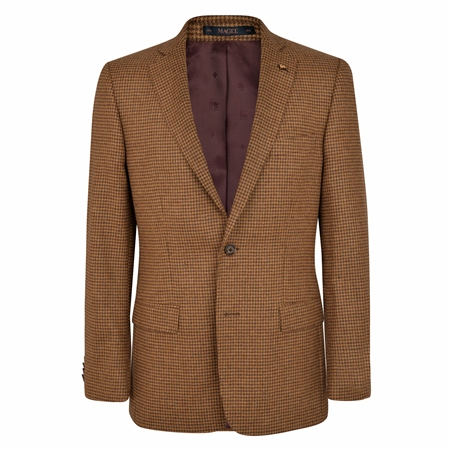 Brown Houndstooth Checked Donegal Tweed Classic Fit Jacket  - Click to view a larger image