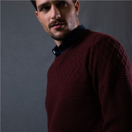 Maroon Breen Rib & Cable Lambswool Crew Neck Jumper  - Click to view a larger image