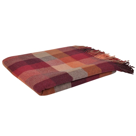 Autumnal Lambswool Patchworks Throw  - Click to view a larger image