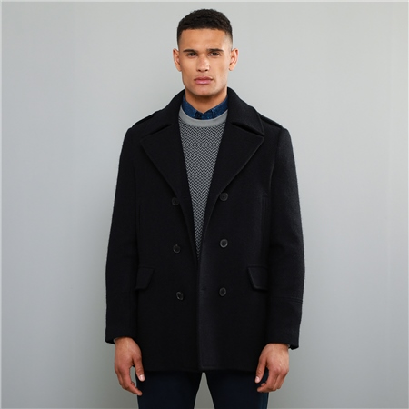 Navy Fintra Herringbone Donegal Tweed Peacoat 1