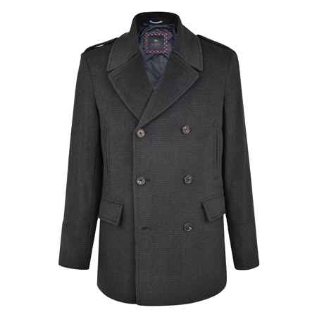 Charcoal Fintra Houndstooth Check Peacoat  - Click to view a larger image