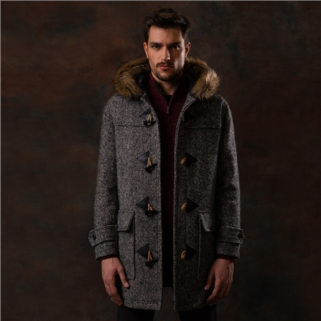 Oat Moross Salt & Pepper Donegal Tweed Duffle Coat   - Click to view a larger image