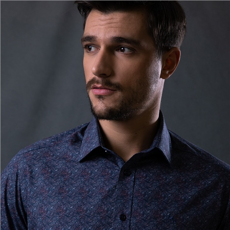 Navy Dunross Floral Print Tailored Shirt  - Click to view a larger image