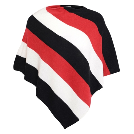 Black, Red & White Leah Stripe Poncho  - Click to view a larger image