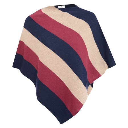 Navy, Red & Beige Leah Stripe Poncho  - Click to view a larger image