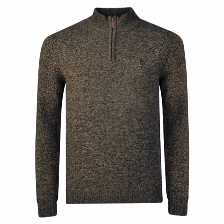 Brown Mullans Lambswool 1/4 Zip Jumper  - Click to view a larger image