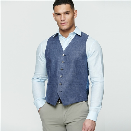 Navy Linen Glyde Waistcoat  - Click to view a larger image