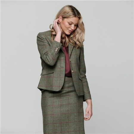 Green Alicia Country Check Donegal Tweed Jacket  - Click to view a larger image