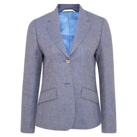 Blue Alicia Herringbone Donegal Tweed Jacket  - Click to view a larger image