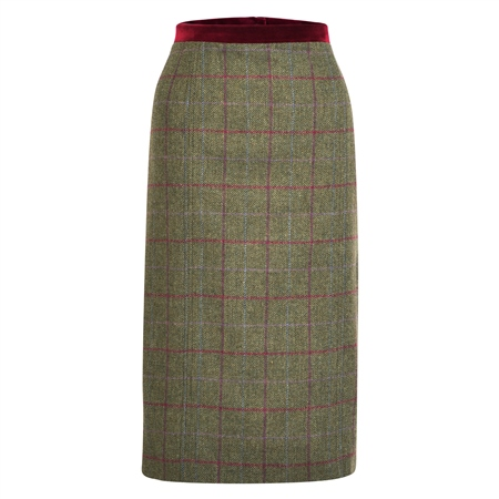 Green Dana Country Check Donegal Tweed Skirt  - Click to view a larger image
