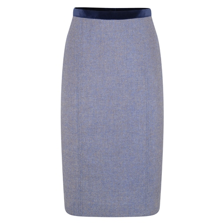 Blue Dana Herringbone Donegal Tweed Pencil Skirt  - Click to view a larger image