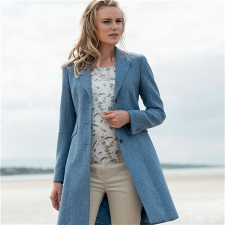 Blue Grace Donegal Tweed Tailored Fit Coat  - Click to view a larger image