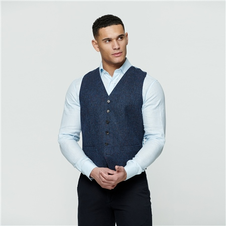 Navy Salt & Pepper Donegal Tweed Glyde Waistcoat  - Click to view a larger image