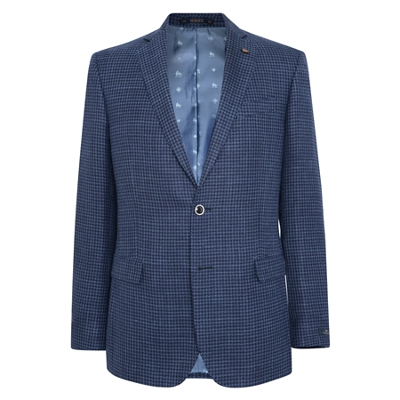 Navy Grid Design Classic Fit Jacket  - Click to view a larger image