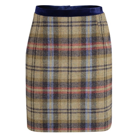 Multicoloured Carey Checked Donegal Tweed Skirt  - Click to view a larger image
