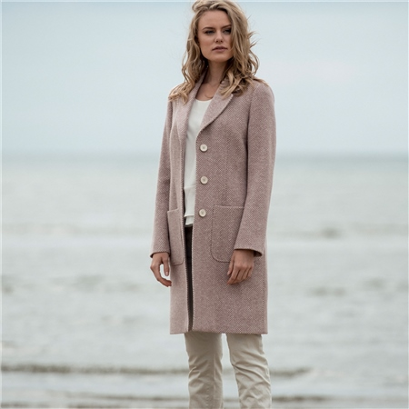 Pink Emma Herringbone Donegal Tweed Coat  - Click to view a larger image