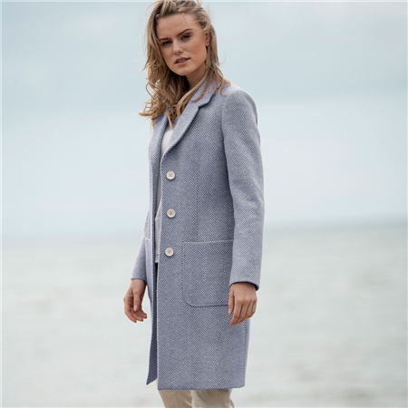 Blue Emma Herringbone Donegal Tweed Coat  - Click to view a larger image