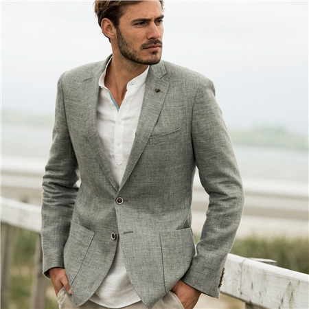 Grey Easky Linen Tailored Fit Jacket  - Click to view a larger image