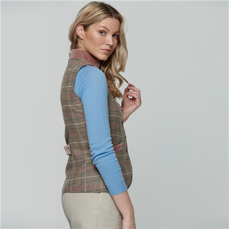 Light Green Georgie Country Check Tweed Waistcoat  - Click to view a larger image