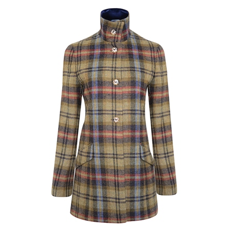 Multicoloured Linsford Checked Donegal Tweed Coat  - Click to view a larger image