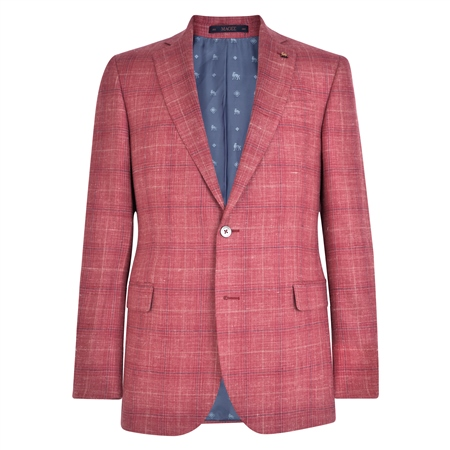 Pink Check Donegal Tweed Classic Fit Jacket  - Click to view a larger image