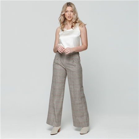 Multicoloured Willow Checked Donegal Tweed wide leg trousers  - Click to view a larger image