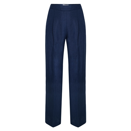 Navy Willow Irish Linen Trousers  - Click to view a larger image