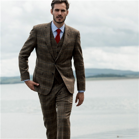 Brown Country Check 3-Piece Donegal Tweed Tailored Fit Suit  - Click to view a larger image