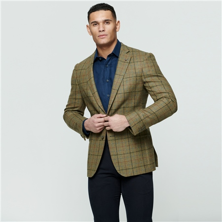 Green Country Check Donegal Tweed Classic Fit Jacket  - Click to view a larger image