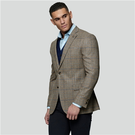 Oat Glen Check Donegal Tweed Classic Fit Jacket  - Click to view a larger image