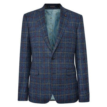 Navy Check Donegal Tweed Classic Fit Jacket  - Click to view a larger image