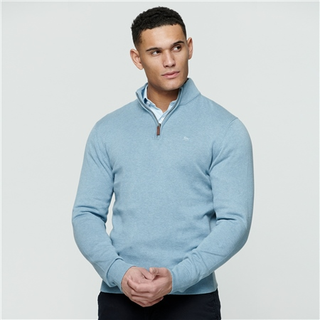 Blue Carn Cotton 1/4 Zip  - Click to view a larger image