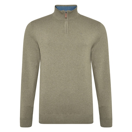 Taupe Carn Cotton 1/4 Zip  - Click to view a larger image