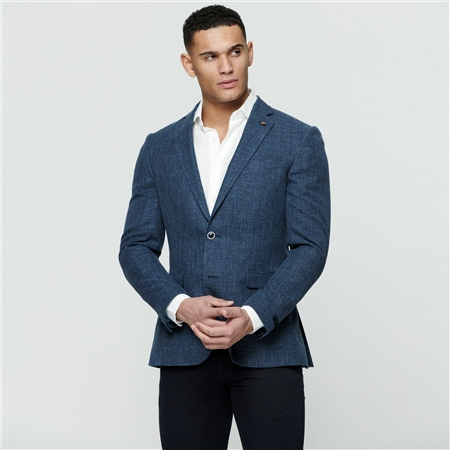 Blue Basket Weave Tailored Fit Jacket  - Click to view a larger image